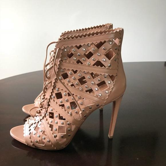 1477f8ec2355 Alaia Paris Lace Up Open Toe 10.5M Bootie Heels